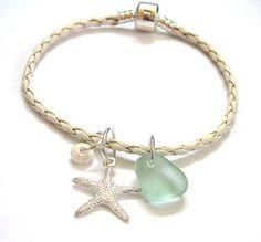 Bangle Seaglass Starfish Euro Leather by GardenLeafSeaside on Etsy, $18.00