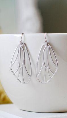 Silver Wing Earrings. Matte Silver Fairy Wings Earrings