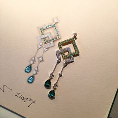 Sea green tourmaline and fancy diamond pendant set in white and yellow gold. Shown next to its rendering in gouache.