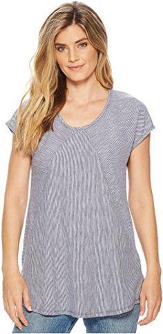 Mod-o-doc Micro Stripe Diagonal Seamed T-Shirt w/ Pockets