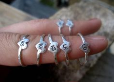 "Rings with all your bridesmaids' initials for them to wear during the wedding on their right hand, for your ""right hand girls"" :)"