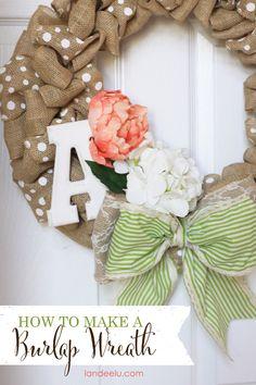 How To Make A Burlap Wreath {landeelu.com}... you can swap out the embellishments for each season!