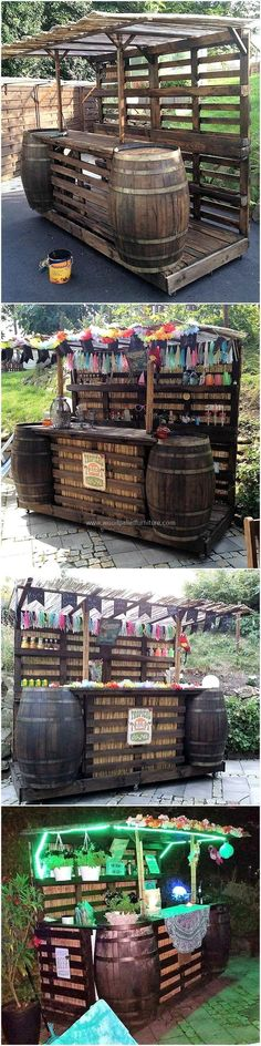 Here we are going to present an amazing and wonderful wood pallets cocktail bar. This cocktail bar seems attractive and appealing with different colors of decorations on it. This cocktail bar wooden structure is best to create for your house's outdoor area and equally good to construct to fulfill your business needs.