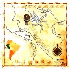 Ancient map describing location of the Secret City Ancient Map, Lost City Of Gold, Finding Treasure, The Lost World, Indiana Jones, Machu Picchu, Lost & Found, Peru, The Secret
