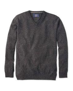Charcoal Donegal v-neck jumper
