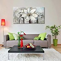 "Seekland Art Hand-painted Oil Painting on Canvas Floral Wall Art Abstract Black and White Lotus Wall Decor for Bedroom Living Room Dining Room Office Unframed (48""W x 24""H)"