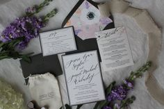 Fully custom calligraphied, letterpress wedding invitations by Jessica R. Crowell Lettering + Illustration. Came with a custom address stamp, too!