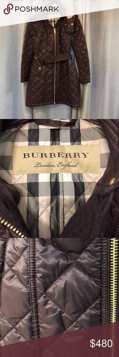 Burberry coat Bnwt. But somehow I manage to stain (in second picture) I removed tags and can't remember where I save them. In a deep purple color (deep elderberry on Bloomingdale's website) style Baughton quilted coat. In my opinion it's true to size.  No trades please. Burberry Jackets & Coats Puffers