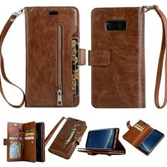 1eab5139b21 ... Leather Wallet Shockproof Protective Phone Case with Card Slots and  Cash Compartment for for Iphone 6 7 8 Plus and Samsung S7 S7 Edge S8 S8plus  Note 8