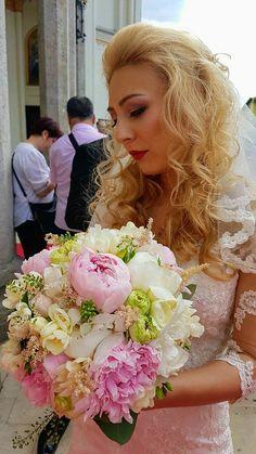 Hair for blonde Bride blonde hair Flowers wedding day
