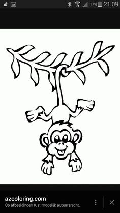 Coloring Pages Christmas Ornaments Hanging Monkey