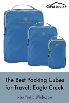 We have been using Eagle Creek packing cubes and garment folders for almost 20 years to keep our luggage organized and our loads lighter. Learn more about which ones we have and why we love them. #travelplanning #packingcubes #eaglecreek #familytravel #travelwithkids