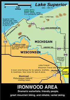 Map of the Ironwood, Michigan Area