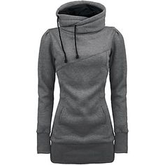 Women's Draw String Pockets Beam Waist Cotton Solid Color Hoodies - USD $ 77.99