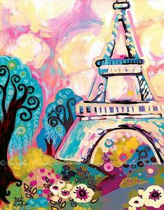 paris, france; paintings; french; eiffel tower