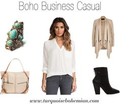 Boho Business Casual. I like everything but the beige, it washes me out. Maybe gray?