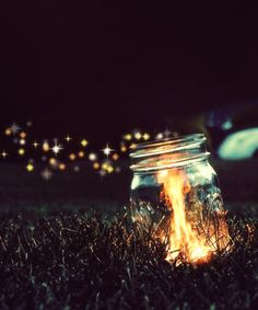 Fire in the jar dark night outdoors fire animated flame gif jar