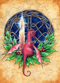 "Christmas Dragon Fantasy Art - ""Magic of Christmas"" - a whimsical holiday watercolour painting by Kirstin Mills Celtic Christmas, Christmas Dragon, Christmas Art, Christmas Holidays, Xmas, Happy Holidays, Vintage Christmas, Christmas Ideas, Fantasy Dragon"