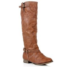 Tan Knee High Riding Boots ($39) ❤ liked on Polyvore