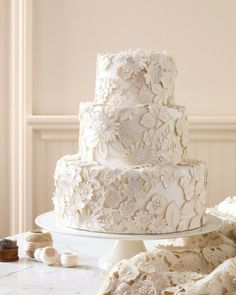 Embroidered Lace and Appliqued Wedding Cake