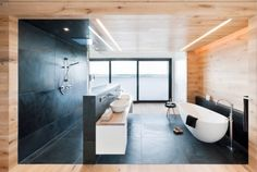 Bahtroom, Doorless Walk In Shower Stall With Black Ceramic Floors And Wall System Wall Mount Showerhead Floating Bathroom Vanity With Two White Sinks And Wall Mounted Faucets A White Tub With Freestanding Sprayer ~ Positive Facts about Walk in Showers without Door