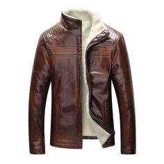 f7d83258723 Fall-New Winter Warm Mens Genuine Leather Jacket Men Retro Brown Sheepskin  Fur Coat Man Wool Liner Shearling Jackets and Coats