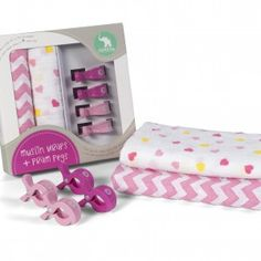 All4Ella 2pk Wraps and Pram Clips (2pk). Pink, Chevron/Hearts