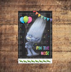 TROLLS PARTY GAME, Pin The Nose, Pin the Tail, Trolls movie Birthday Party by TRUSTITI on Etsy