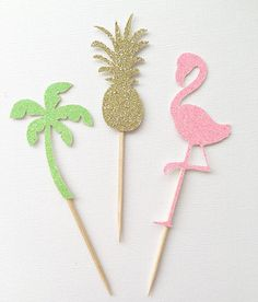 Pineapple Flamingo Palm Tree Cupcake Toppers by OhhHowCharming