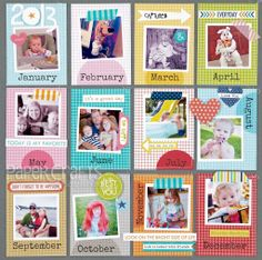 Jennifer Chapin - Bella Blvd - Photo Pocket Scrapbooking - monthly calendar page
