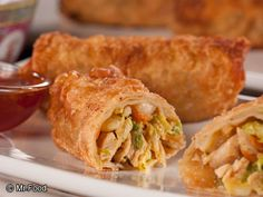 "CHICKEN EGG ROLLS RECIPE: ~ From: ""Mr. Food.Com"". ~ Recipe Furnished By: ""MR.FOOD TEST KITCHENS"". ~ Cook Time: 6 min; Ready In: 6 min; Yield (12 servings). ~ You wouldn't believe how easy our Chicken Egg Rolls are to make. So easy in fact, you'll toss those take out menus right into the trash!"