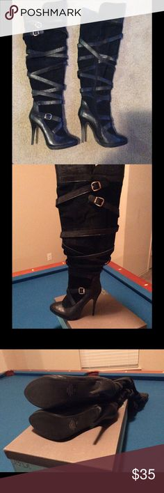 """N.Y.L.A. """"Webebe"""" Knee-High Boots N.Y.L.A. """"Webebe"""" Knee-High boots size 11. Tried one boot to see if they fit. Brand new. They are very similar to the Dolce Vita Marilyn belted boots. Black straps with gold buckles. 4 3/4 inch heel. Platform is a 1/2 inch. The boot opening is 15 inches around. They run a little true to size. Not for a wide foot. N.Y.L.A. Shoes Heeled Boots"""