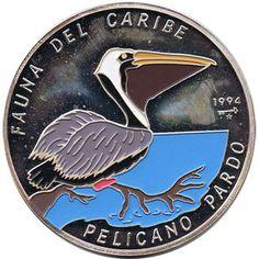 Moneda 5 onzas de plata 50p. Cuba Fauna del caribe Pelicano 1994