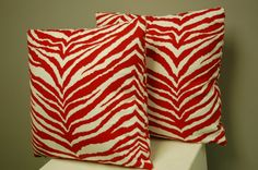 Do you love animal print and red but do not want to get crazy with it?  these pillow covers give you both at once!  Red White Tiger Print Decorative Pillow by BlackBeltHomeDecor, $30.00