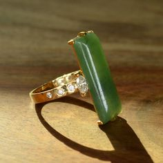 Jade and Diamond Ring 18k and 24k Yellow Gold by JdotC on Etsy