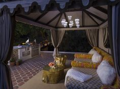 Relax outside under the stars for the black and white pj party