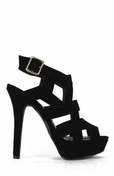 Qupid Gaze-347 Cutout Strappy Caged Platform Stiletto Sandal - Black Nubuck PU