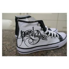 (10) Panic at the disco hand painted canvas high tops, made to order. ❤ liked on Polyvore featuring shoes