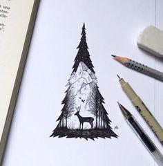 Deer and tree tattoo