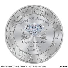 Personalized Diamond 60th Anniversary Paper Plates