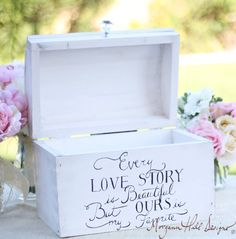 Wedding Card Box Shabby Chic Decor Vintage Inspired Hand Painted Keepsake Box (Item  Number 140002)