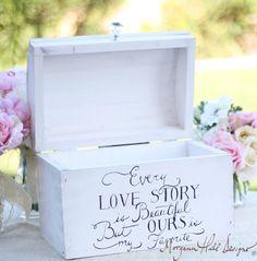 Wedding Card Box Shabby Chic Decor Vintage Inspired Hand Painted Keepsake Box (Item  Number 140002)