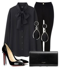 """Sem título #2464"" by ana-sheeran-styles ❤ liked on Polyvore featuring Oasis, Uniqlo, Christian Louboutin and Yves Saint Laurent"