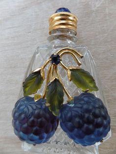 Vintage Austria Perfume Bottle With Austria Fruit Blue Raspberry RARE