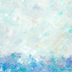 Landscape Painting Minimalist Abstract Art Soft Colors Pastel Blue Green Teal 16 x 20 Original Contemporary Artwork Seascape