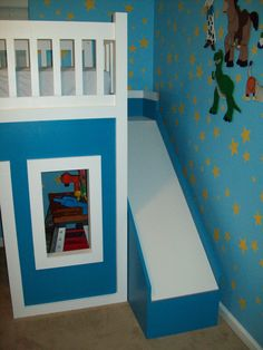ana white loft bed | Playhouse Loft Bed With Stairs And Slide, Playhouse Loft Bed, Loft Bed