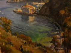 A painting by Michael Obermeyer depicting Catalina Island. Learn more about Obermeyer and a group of plein air painters committed to using their art for the environment: http://www.outdoorpainter.com/news/10-years-painting-for-the-environment.html