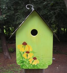 Indiana License Plate Yellow Coneflower Wren House by Imperfetions, $30.00