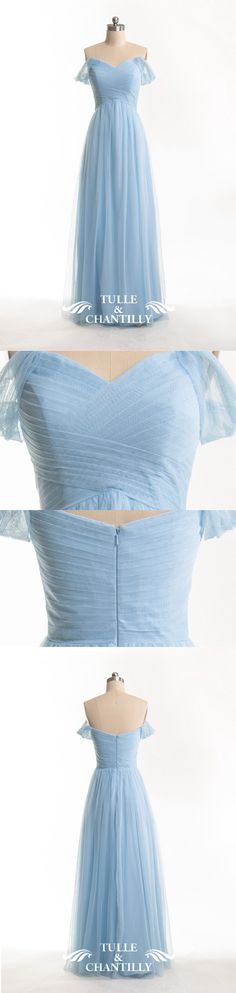 off shoulder light sky blue bridesmaid dress bodice detail