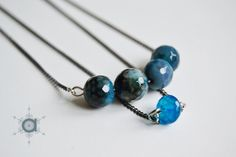 Layering necklace, Layered necklace, Delicate necklace, Garnet necklace, Agate necklace, Blue necklace